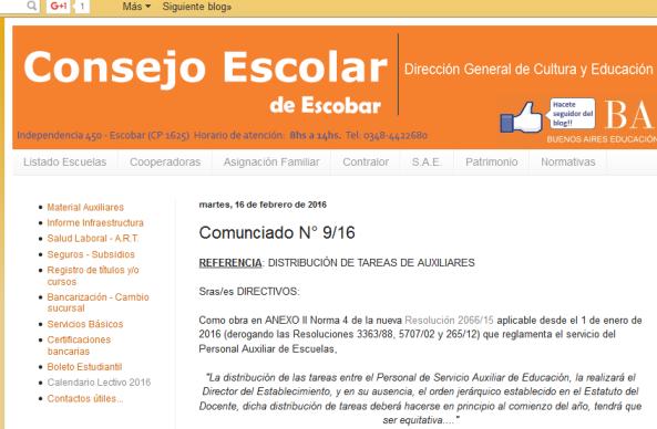 Consejo Escolar de Escobar Comunciado N° 9-16