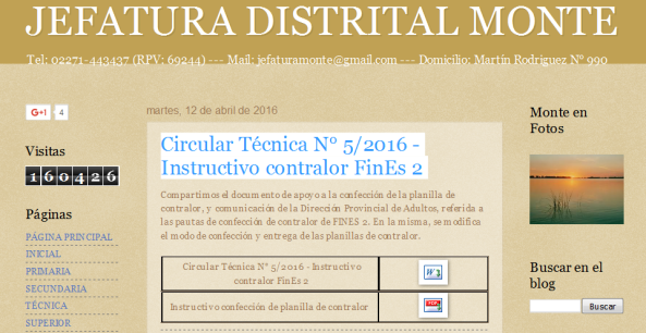 JEFATURA DISTRITAL MONTE Circular Técnica N° 5-2016 - Instructivo contralor FinEs 2